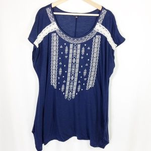 RXB Boho Short Sleeve Top in Navy & White  1X